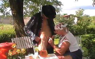 Outdoor granny fucking in village