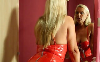 Blonde housewife Tia loves playing with her toy