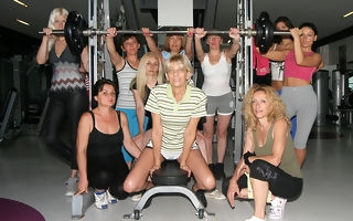 These mature ladies love to exercise naked