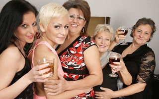 Five horny old and young lesbians make it special for Christmas