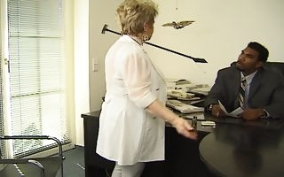 Granny gets owned by a black hunk down at the office
