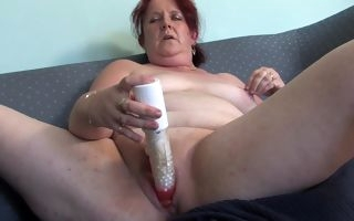 Granny uses huge toy cock to suit her sexual needs