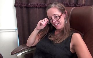 Mature with perfect curves solo action down the office